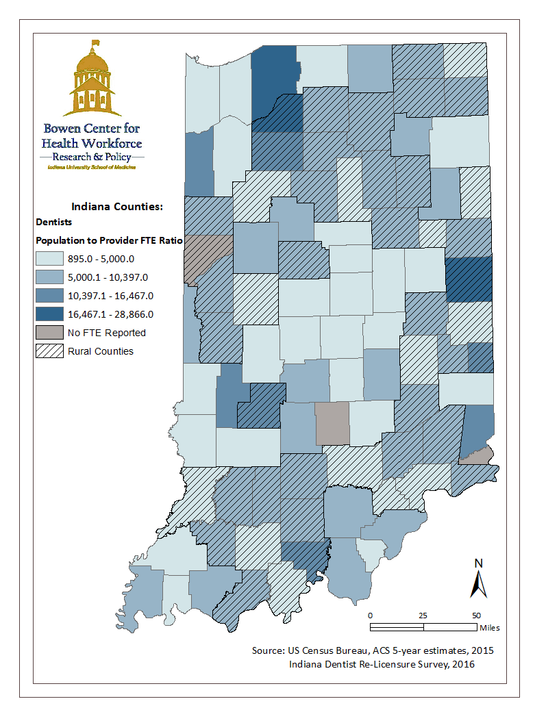 This map illustrates the geographic distribution of Indiana's dentist workforce by mapping the population to dentist full time equivalency ratio calculated from data collected during the 2016 Indiana dentist renewal process. This map also highlights urban and rural counties in Indiana. Source: Dental Policy Report 2017