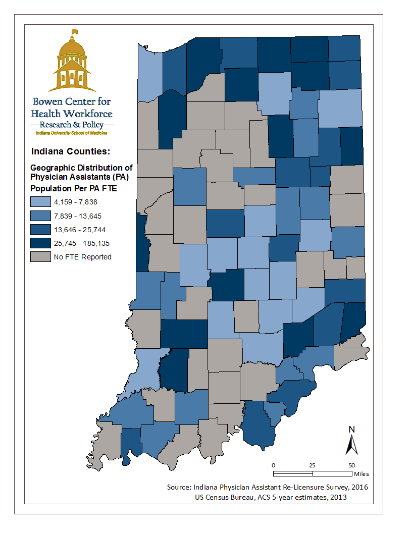 This map illustrates the geographic distribution of Indiana's physician assistant workforce by mapping the population to physician assistant full time equivalency ratio calculated from data collected during the 2016 Indiana physician assistant renewal process. Source: Physician Assistant Data Report