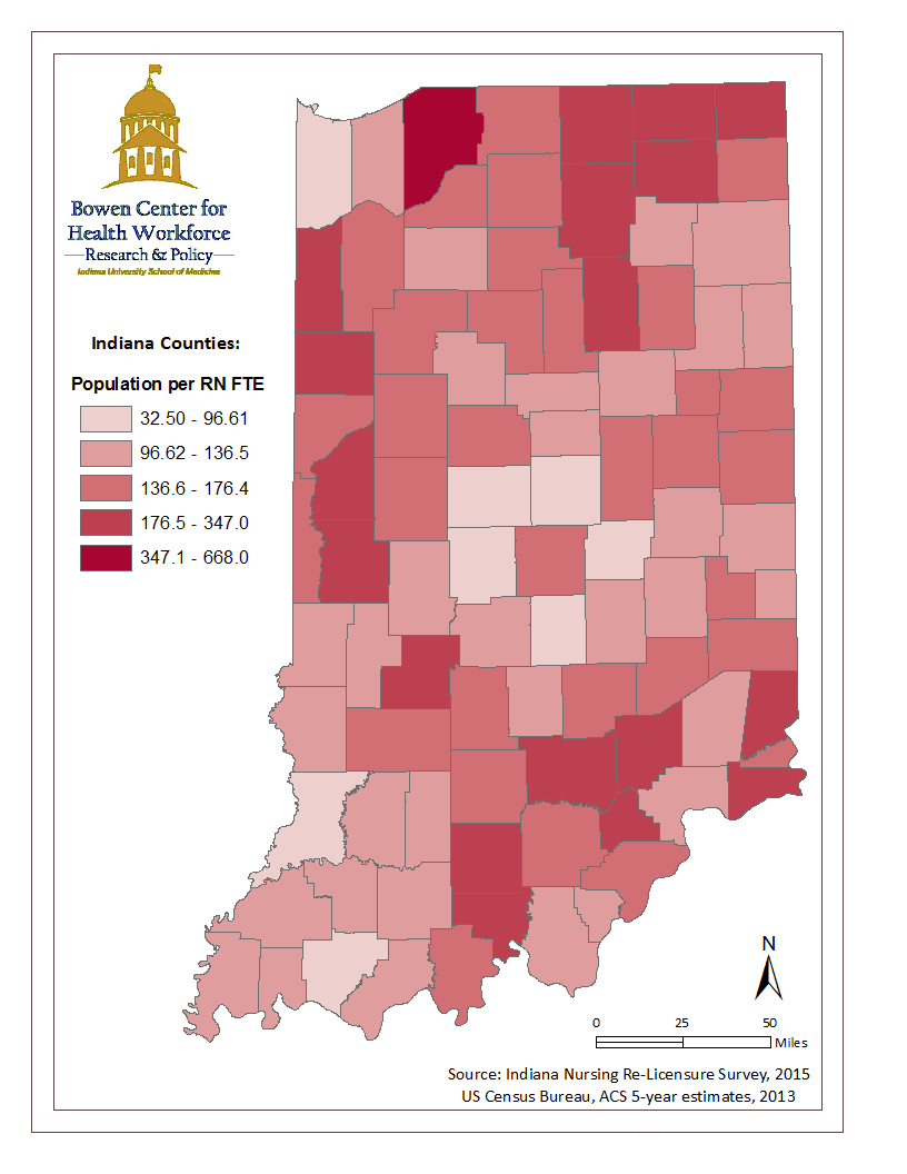 This map illustrates the geographic distribution of Indiana's registered nurse (RN) workforce by mapping the population to RN full time equivalency ratio calculated from data collected during the 2015 Indiana registered nurse renewal process.